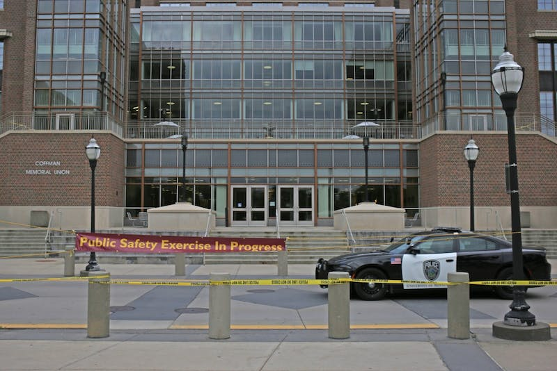 A public safety exercise took place in Coffman Memorial Union on Tuesday, July 25, 2017. The building and surrounding area was blocked off from 5 pm until midnight.