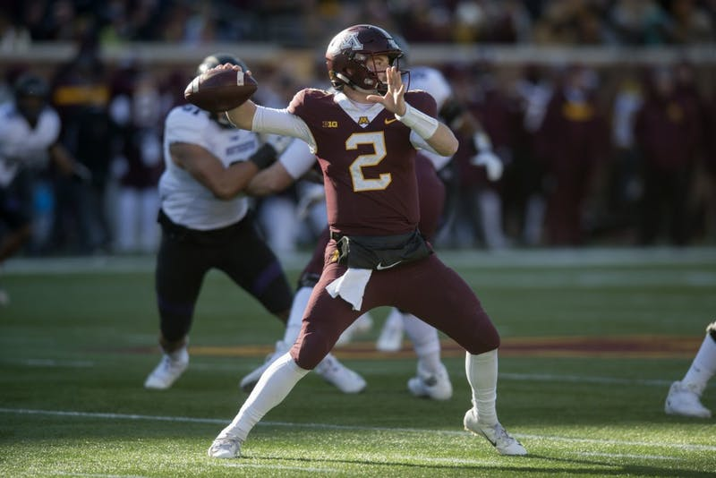 Quarterback Tanner Morgan looks to throw the ball on Saturday, Nov. 17 at TCF Bank Stadium. The Gophers were defeated by Northwestern with a final score of 24-14.