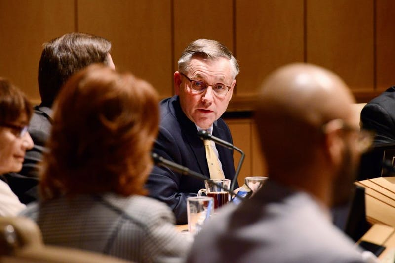 University Board of Regents Chair Dean Johnson addresses other board members in a Dec. 2015 meeting. Johnson announced the board would launch an official inquiry to find who on the board leaked information of a sexual harassment case to KSTP Wednesday evening.