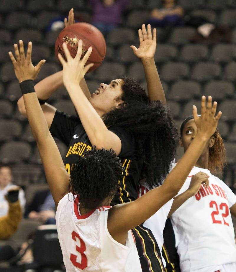 Minnesota center Amanda Zahui B. shoots the ball against Ohio State during the Big Ten women's tournament on March 6 in Chicago, Ill.