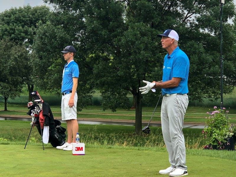 Former Gopher Tom Lehman prepares for his tee shot on the 10th hole during his Monday practice round at TPC Twin Cities in Blaine, Minnesota.