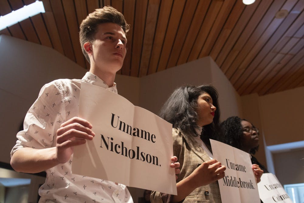 Students respond to regents' vote to keep building names