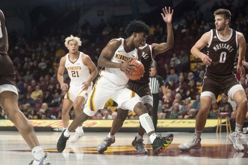 Guard Marcus Carr drives towards the hoop during the Gophers' exhibition game against Southwest Minnesota State at Williams Arena on Monday, Oct 28. The Gophers won 73-48.