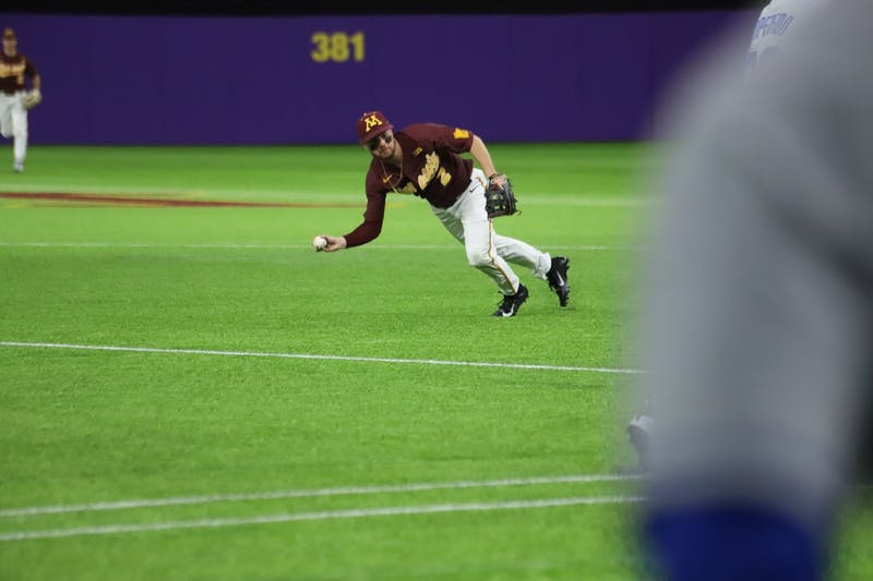 Gophers Infielder Zack Raabe makes a catch at U.S. Bank Stadium on Saturday, Feb. 29. The Gophers fell to Duke 3-7.