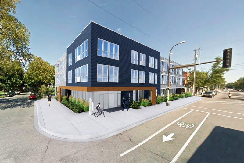 Digital rendering of the proposed 1501 Como Ave. SE apartment complex.