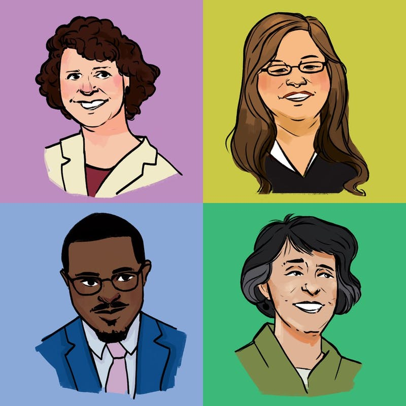 Clockwise from top left: University Regents Mary Davenport, Ilean Her, Janie Mayeron and Mike Kenyanya.