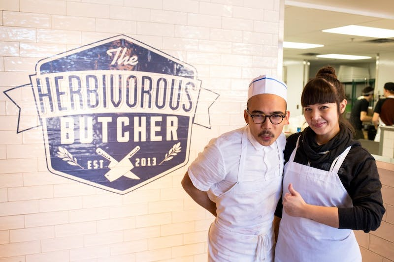 Sibling-duo Kale and Aubry Walch pose inside their soon-to-open butcher shop, The Herbivorous Butcher, on Sunday. The vegan butcher shop will be the first of its kind in the United States, with a grand opening planned for January 23.