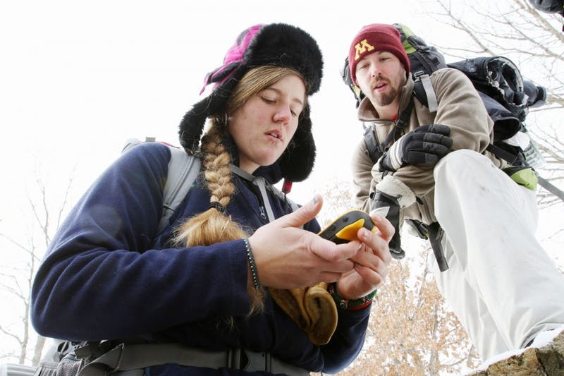 Brittany Turnis and Tyler Joing, both majoring in recreation, park and leisure studies, spent their weekend at Afton State Park for a class teaching winter camping skills. Turnis wants to be a law enforcement ranger at a national park after graduating.