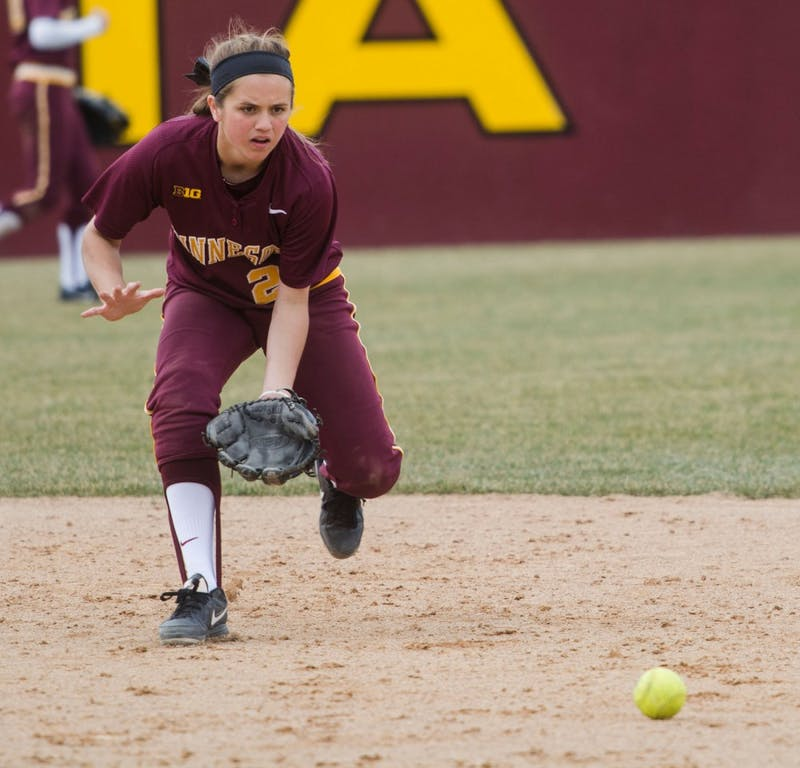 Freshman Danielle Parlich fields a ground ball between innings on Saturday afternoon at Jane Sage Cowles Stadium.