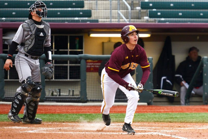Terrin Vavra watches the ball after hitting a home run in the third inning at Siebert Field on Wednesday. The Gophers defeated Northern Illinois University, 12-10.