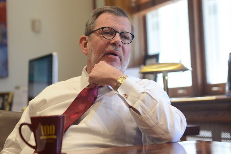 President Eric Kaler fields questions from the Minnesota Daily in his office in Morrill Hall on Friday, April 28, 2017.