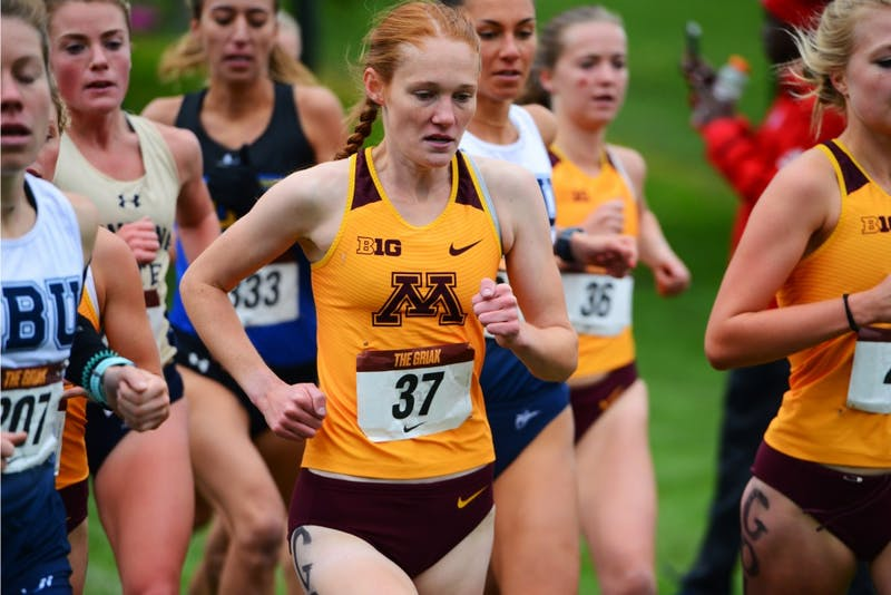 Patty O'Brien, who had a top-20 finish runs the course. Teammates and sisters Bethany and Megan Hasz finished first and second overall for Gopher women's cross country at the 33rd annual Roy Griak Invitational at Les Bolstad Golf Course on Saturday, Sept. 29.