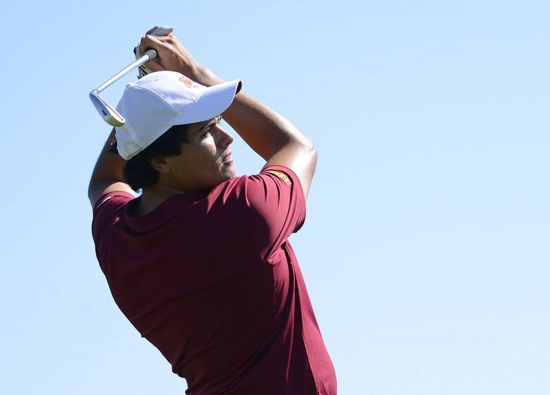 Sophomore Jose Mendez swings at Windsong Farm Golf Club on Sunday at the Gopher Invitational. Mendez tied for fifth at the tournament and the Gophers placed fourth overall.