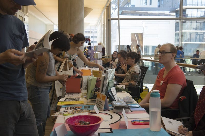 Community members attend Twin Cities Zine Fest on Saturday, Sept. 15, 2018 at Minneapolis Central Library. Local zine creators present and sell their zines at the fest.