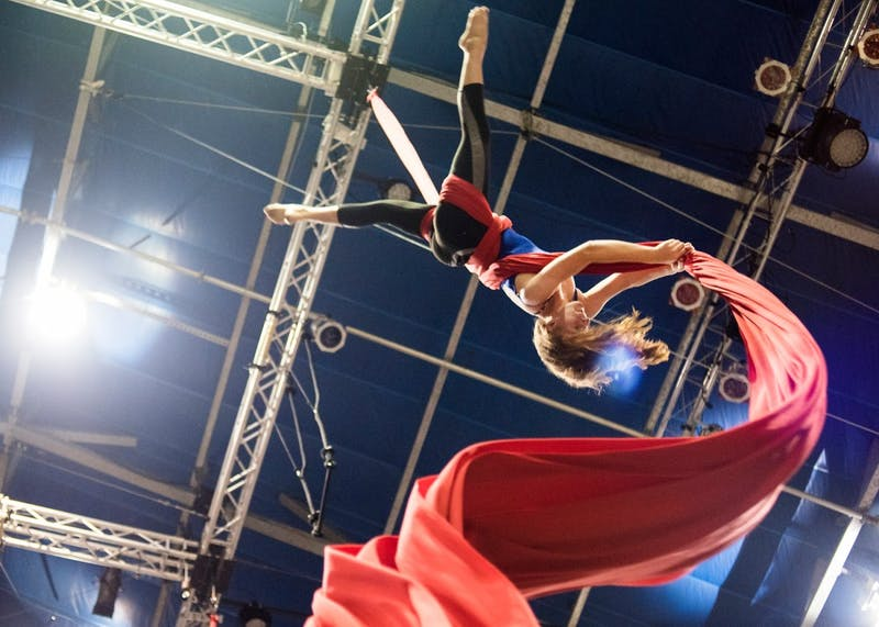 Abby Guggisberg practices aerial silks at Circus Juventas at their location in the Highland neighborhood of St. Paul on July 22.