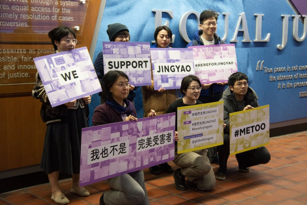 Students show support for Richard Liu's alleged victim at Tuesday hearing