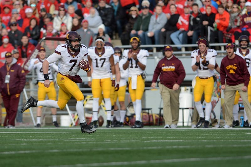 Minnesota quarterback Mitch Leidner runs the ball against Wisconsin at Camp Randall Stadium in Madison, Wis., on Saturday, Nov. 26, 2016. Wisconson won 31-17 over Minnesota.