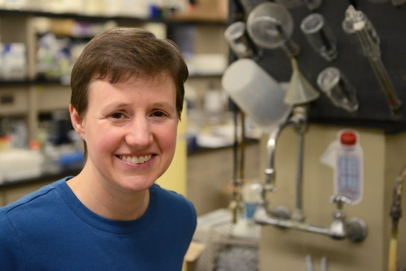 Dr. Kelly Aukema poses for a portrait in Gortner Laboratory on Monday, Feb. 20, 2017. Dr. Aukema's research involves finding cleaner water through an enzyme database.