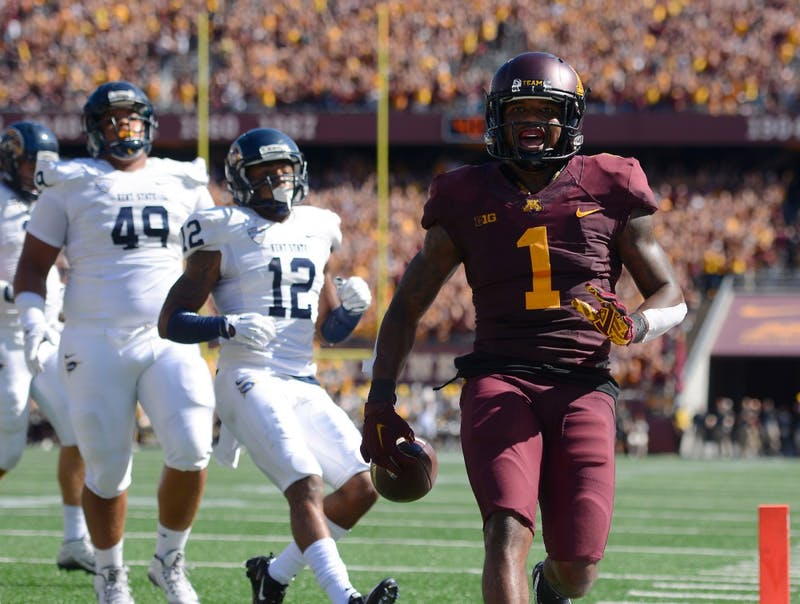 Wide receiver KJ Maye enters the end zone, scoring a touchdown in the second quarter at TCF Bank Stadium on Sept. 19, where the Gophers defeated Kent State 10-7.