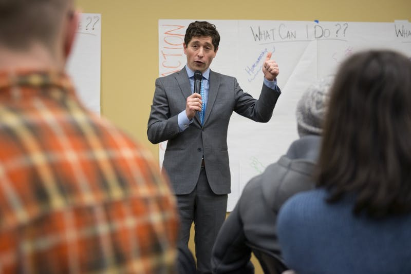 Mayor Jacob Frey speaks about affordable housing at a community event at the University of Minnesota Urban Research and Outreach-Engagement Center in North Minneapolis on Thursday, Feb. 15.