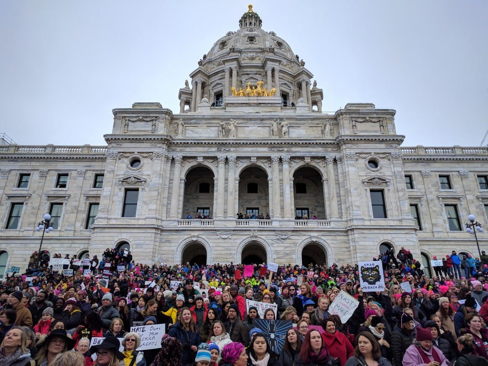 As many as 100,000 protesters gather outside State Capitol for St. Paul Women's March