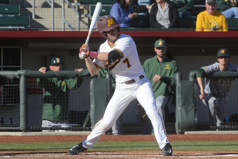 Redshirt sophomore Jordan Kozicky watches the pitch during a game against North Dakota State University at Siebert Field on Tuesday, Apr. 4, 2017.