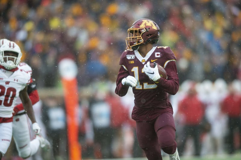 Wide receiver Rashod Bateman scores a touchdown on the first drive of the Gopher game at TCF Bank Stadium Saturday, Nov. 30.