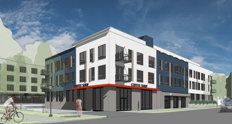 A rendering of the apartment building that will be part of a new development at 8th St and 9th St SE in Marcy Holmes. The development also includes an office building and a hotel.
