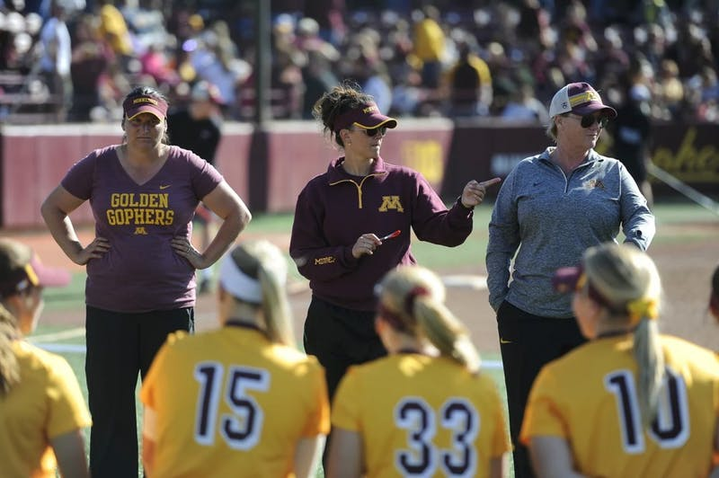 Gophers' softball head coach Jamie Trachsel speaks to players of the team.