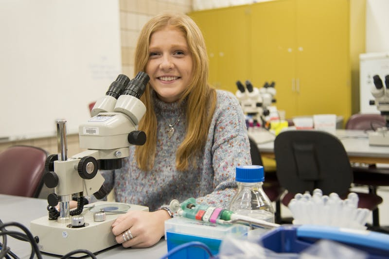 Student Researcher Paiton Schwab, who conducts brain research with Ted Hinchcliffe, poses for a portrait in the Molecular and Cellular Biology building on Friday, Feb. 28.
