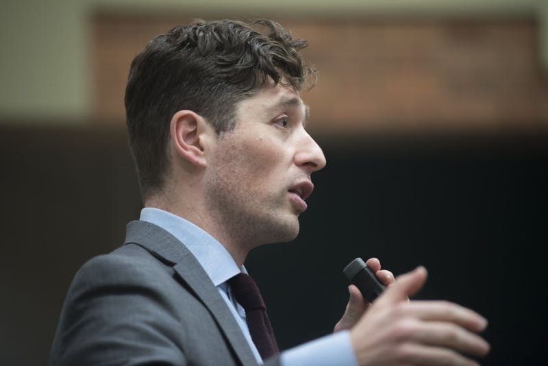 Minneapolis Mayor Jacob Frey spoke to students at an Minnesota Student Association forum in Blegen Hall on Tuesday, Feb. 26. Frey talked about affordable housing, racial equality, and better ways to handle sexual assault.