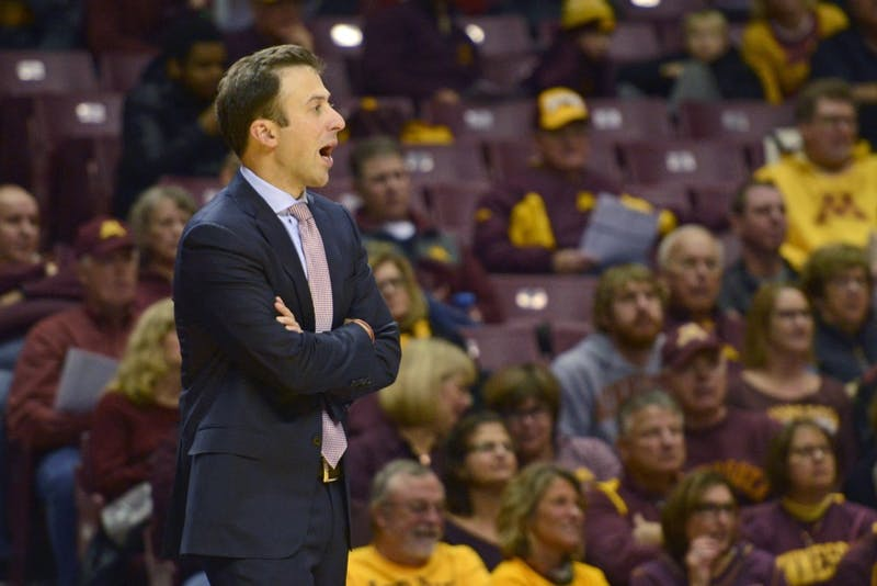 Head coach Richard Pitino directs the team from the sideline on Thursday, Nov. 2 at Williams Arena.