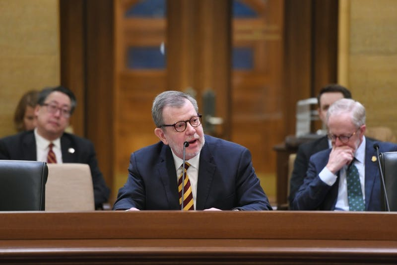 University President Eric Kaler addresses the Senate Higher Education Committee at the Capitol in Saint Paul on Tuesday, Jan. 15.