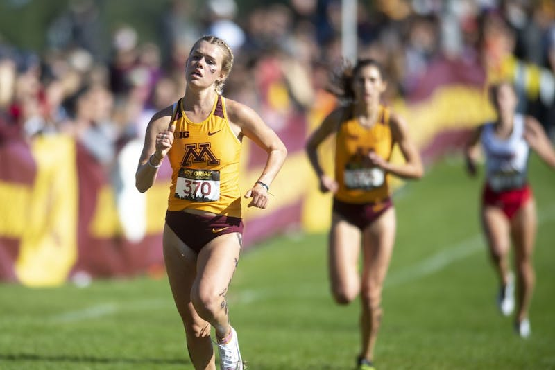 Redshirt Junior Maria Eastman sprints for the finish line during the 2019 Roy Griak Invitational at the Les Bolstad Golf Course on Saturday, Sept. 28, 2019.  The Minnesota women's team placed third in the Division 1 race.