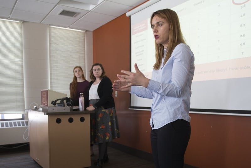 """Gonxhe Kandri speaks during a discussion on the """"Minnesota Method"""" in the Social Sciences Building on the West Bank on Tuesday, March 6. The """"Minnesota Method"""" is a tool designed by a research team to support human rights advisers."""