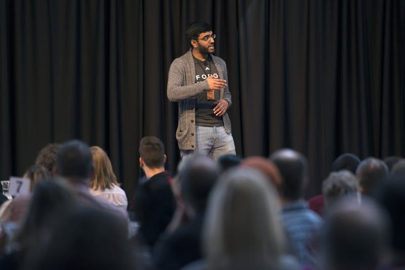 Bharat Pulgam, the founder of three companies and a freshman at the University of Minnesota, delivers the first speech of the evening as part of TEDxUMN: A Tale of Twin Cities, at the McNamara Alumni Center on Friday, March 30.