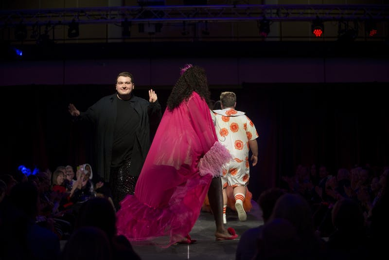 Models showing Designer Ian Harris' work walk the runway at the Amplified fashion show at Rapson Hall on Saturday, Feb. 15. The show features designs by University of Minnesota apparel design seniors.