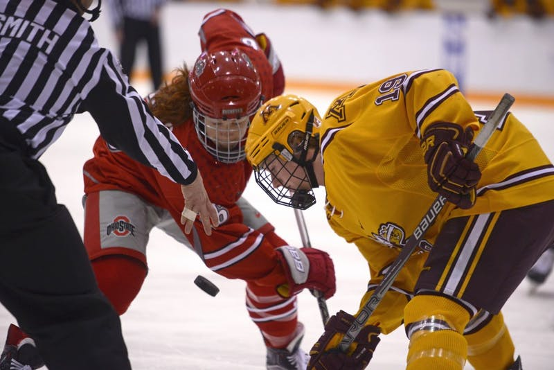 Forward Kelly Pannek watches the puck drop during a game against Ohio State on Feb. 27, 2016.