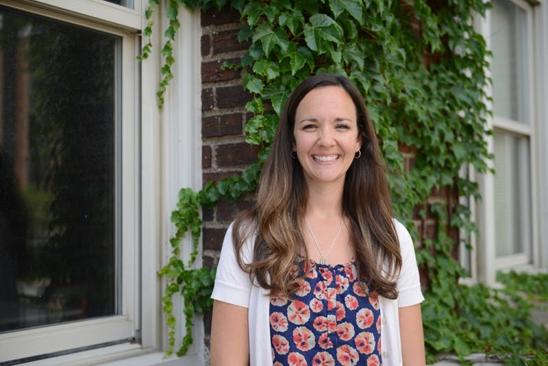 Emily O'Hara poses for portraits outside of Appleby Hall on Tuesday. O'Hara holds the position of Care Manager for the Office of Student Affairs, a relatively new position that was created to further help students in distress due to behavioral, mental or emotional problems.