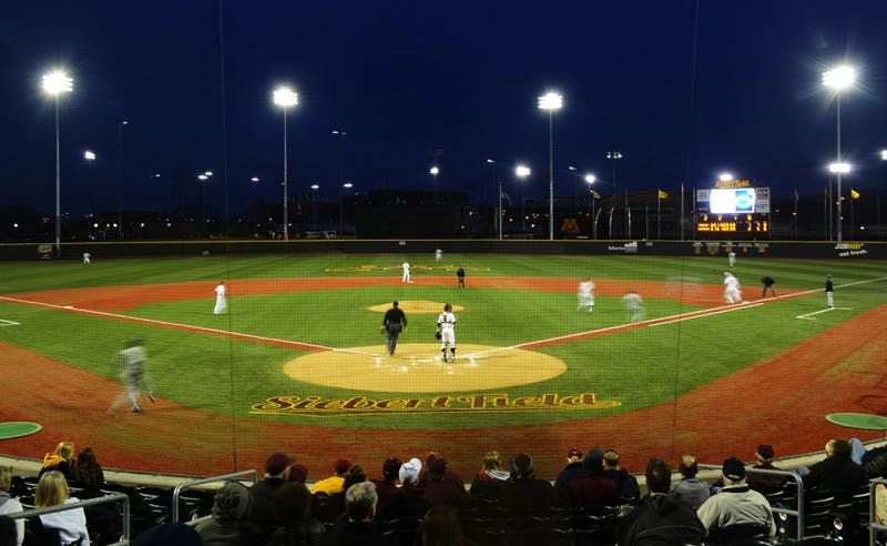 Lights illuminate new Siebert Field for the first time in the stadium's history on Friday.
