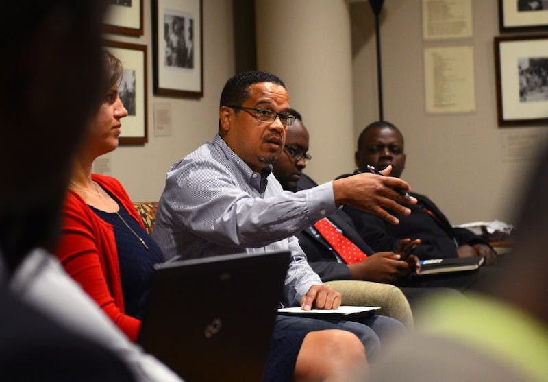 Fifth district Minnesota congressman Keith Ellison discusses political practices with fellows from the Mandela Washington Fellowship in the Freeman Commons of the Hubert H. Humphrey Center on June 30. The fellows hail from 25 different countries throughout sub-Saharan Africa, and they look to further their insight into American politics through their visit.