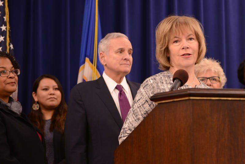 Lt. Gov. Tina Smith discusses a new initiative for young women of Minnesota on Tuesday, Oct. 22, 2016 at the Veterans Service Building in St. Paul.