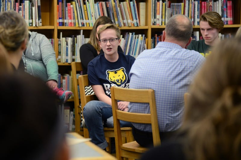 Tartan High School Genders Sexuality Alliance member Gabe Marcotte speaks during Skyview Middle School's meeting with UMN social studies education associate professor J.B. Mayo at Tartan High School on Wednesday, Feb. 15, 2017. The meeting educated teachers how to use language properly when speaking about gender and sexuality.