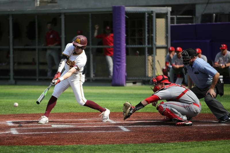 Senior Alex Boxwell bats during the game against St. John's University on Saturday, March 31 at U.S. Bank Stadium in Minneapolis. The Gophers won 6-3.
