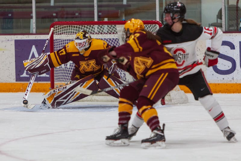 Gophers Goaltender Sydney Scobee deflects the puck at Ridder Arena on Friday, Jan. 17.  Minnesota suffered a 1-4 loss to Ohio State. (Kamaan Richards / Minnesota Daily)