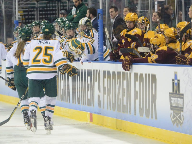 Clarkson University Golden Knights cheer after scoring a goal on Friday, Mar. 17, 2017 in St. Charles, Missouri at the Family Arena. The Gophers lost 4-3 against Clarkson University Golden Knights.