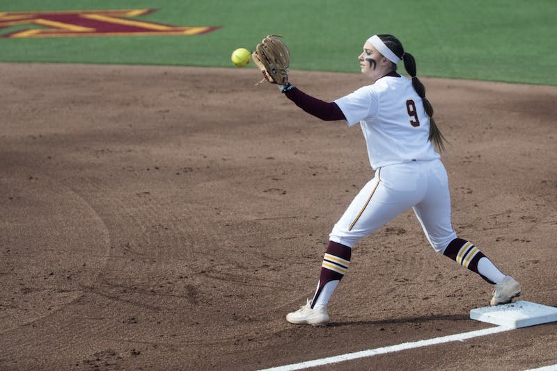 Infielder Hope Brandner catches the ball for an out on Friday, March 29 at Jane Sage Cowles Stadium in Minneapolis. The Gophers beat the Purdue Boilermakers 5-1.