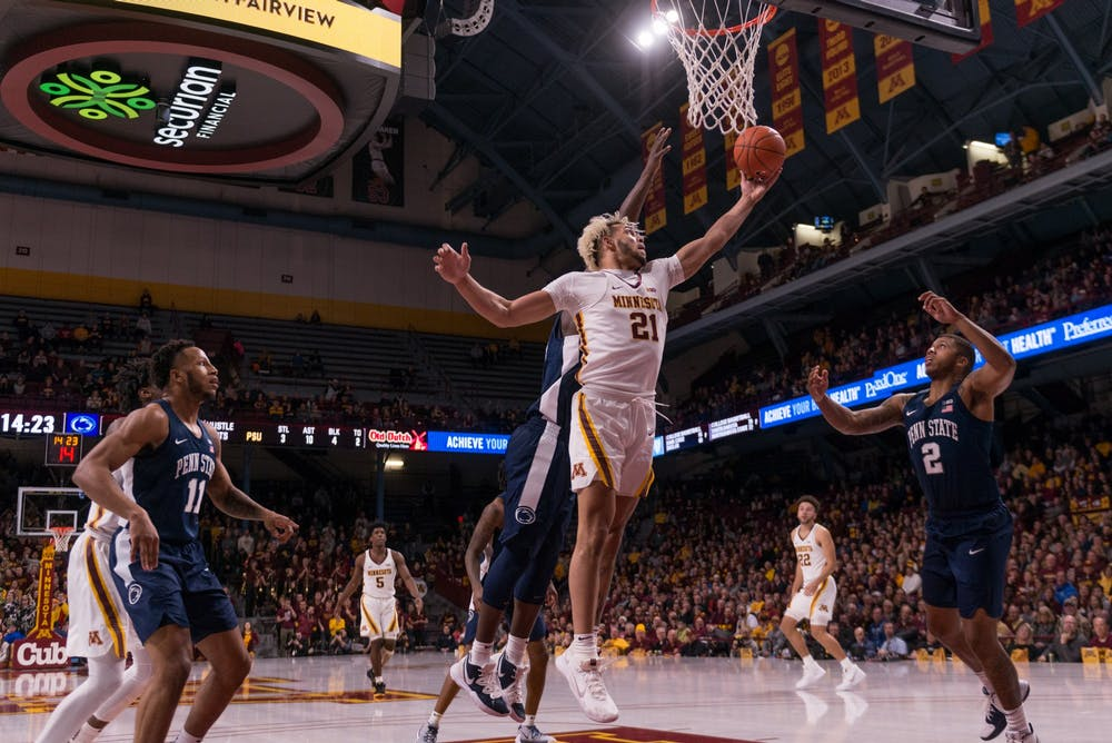Sophomore Jarvis Omersa energizes the Gophers