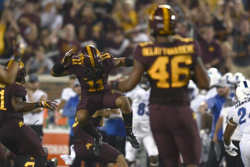 Defensive back Antoine Winfield Jr. celebrates after a tackle on Thursday, Aug. 31, 2017 at TCF Bank Stadium in Minneapolis, Minn. The Gophers beat Buffalo 17 to 7.