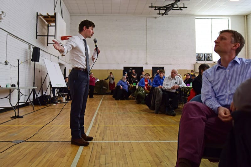 Mayor Jacob Frey speaks during a public safety community forum at Sabathani Community Center on Tuesday, April 10.